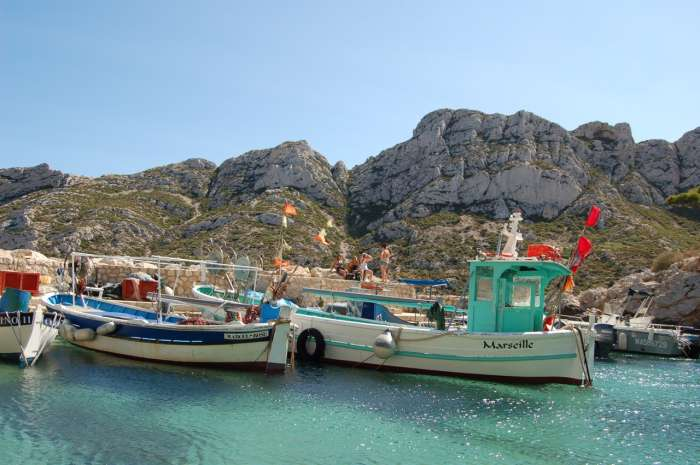 Fishing boats moored at Sourmiou